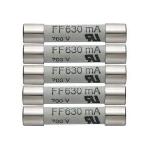 5er Set Ersatzsicherungen 630mA/600V